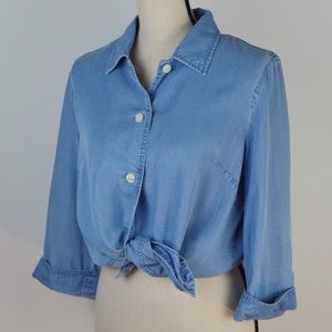 Super Soft Chambray Top | Cuffed 3/4 Sleeves